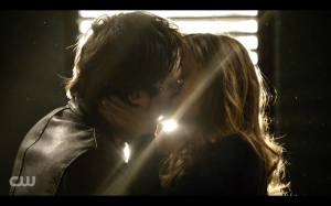 Elena and Damon finally kiss!