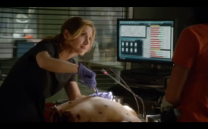 Maura at work while Jane talks about how someone can cut up bodies.