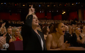 Patrica Aquette's word inspired great applause from Meryl Streep and J.Lo.