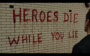 "Mark left the message, ""Heroes die while you lie."""